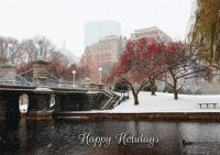 Boston's Public Gardens footbridge covered in snow in this Boston corporate holiday greeting card.