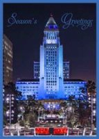 Los Angeles City Hall Blue Holiday Card