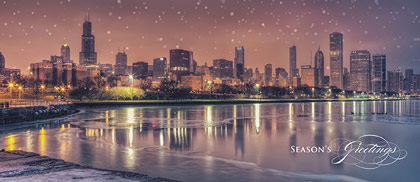 Christmas In Chicago Skyline.Chicago Skyline Panorama Card Business Holiday Cards