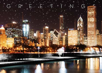 Christmas In Chicago Skyline.Chicago Skyline Illuminated Business Holiday Cards