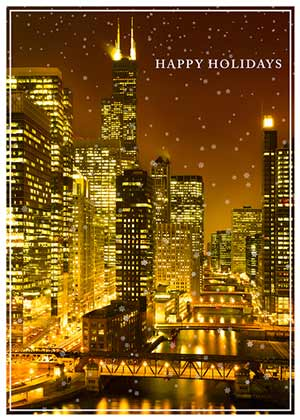 Chicago at Night Holiday Card