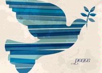 Blue Striped Dove of Peace International Holiday Card