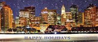 Business Holiday Card with Panorama of Boston's Financial District Skyline From The Frozen Harbor