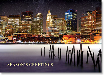 Bostons skyline from the waterfront season greetings business cards bostons skyline at night from the frozen waterfront business holiday cards colourmoves