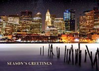 Boston's Skyline At Night From The Frozen Waterfront - Business Holiday Cards.