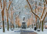 Beautiful corporate Holiday card depicting Boston's Commonwealth Avenue decorated for the holidays.