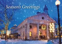 Faneuil Hall in Boston's Quincy Market here during the holidays is a beautiful Boston holiday card.
