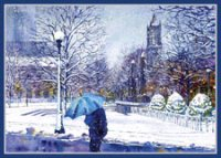 Business Christmas Card of Thomas Rebek's Blue Umbrella of Boston's Copley Square in the Back bay.