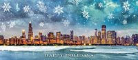 Happy Holidays Cororate Card with large snowflakes over a panorama of the Chicago skyline.