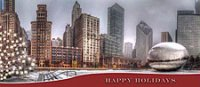 Business Holiday Card of Chicago's Millennium Park, with The Bean  and Michigan Avenue buildings.