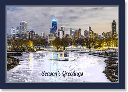 Corporate holiday card of the Chicago winter skyline from Lincoln Park framed with a toned border.