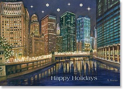 City Lights on Chicago River by artist Gail Basner is a beautiful holiday card for any business.