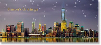 New York City company holiday card of the lower Manhattan skyline with the World Trade Center.
