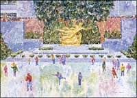 Corporate holiday card with Thomas Rebek's NYC Rockefeller Center Skaters watercolor image.