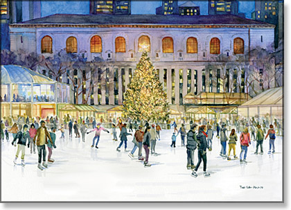 Skaters at Bryant Park New York Christmas Card