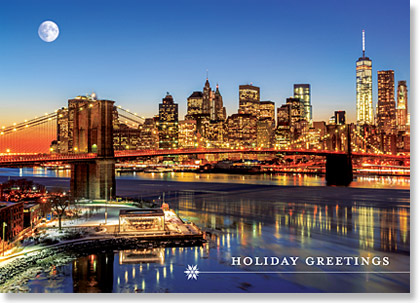 Business Holiday Card of Manhattan from the East River with the Brooklyn Bridge