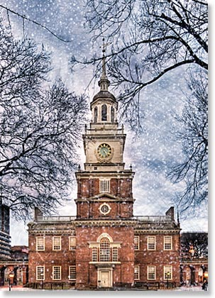 Independence Hall in Snow Holiday Card