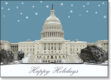 Snowfall on the Capitol DC Holiday Card