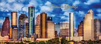 Panorama of the afternoon Houston Skyline Holiday Card