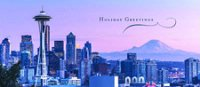 Seattle Skyline Panorama Holiday Card