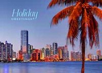 Skyline of Miami Holiday Card