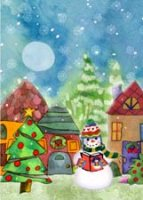 Snowman Reading ProLiteracy Charity Christmas Card