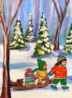 Books on Sled ProLIteracy Charity Christmas Card
