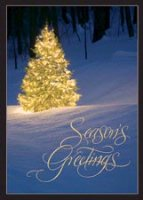 Golden Tree Winter Scene Holiday Card