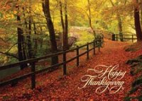 Leaf-Strewn Lane Thanksgiving Card