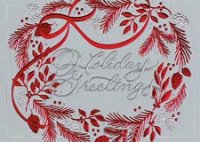 Red Wonder Wreath Holiday Card