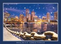 Boston Fan Pier Skyline Holiday Card