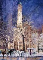 Taxi At The Tower Christmas Card