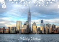 New York Evening Skyline Holiday Card