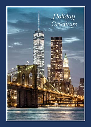Freedom Tower at Dusk Holiday Card
