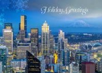Seattle Sunset Skyline Holiday Card