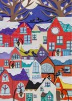 Colorful Village charity holiday card supporting National Alliance to End Homelessness