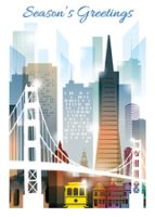 San Francisco Illustrated Skyline Holiday Card