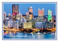 Pittsburgh Skyline at Dusk Holiday Card