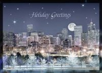 Denver Evening Skyline Holiday Card