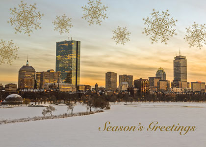 Sunset over the Charles Boston Holiday Card