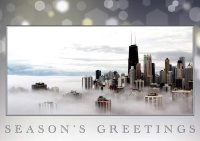 Chicago Skyline in the Clouds Holiday Card