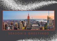 New York Sunset Skyline Holiday Card