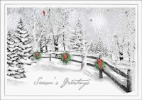 Scenic Pass Winter Scene with Wreaths Holiday Card