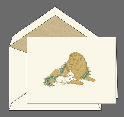 Peaceful Lion and Lamb Holiday Card from William Arthur