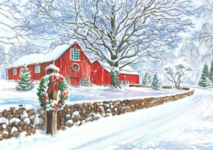 Snowy Red Barn Charity Holiday Card