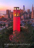 San Francisco's Red Coit Tower Holiday Card