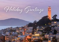 San Francisco Coit Tower at Dusk Christmas Holiday Card