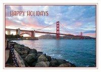 San Francisco Gold Gate Bridge at Sunset Holiday Card