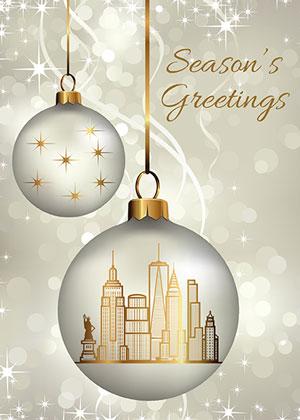 New York Ornaments Holiday Greetings Card