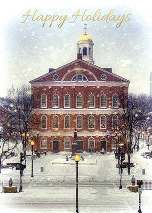 Boston Faneuil Hall and Old Massachusetts State House Holiday Card